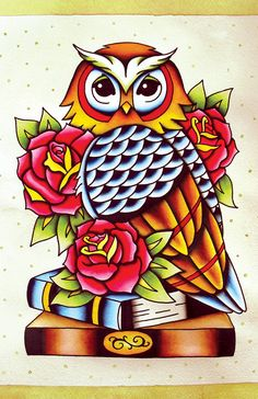 Traditional American Tattoo Style Original Owl Watercolor Painting Print Poster 11x17