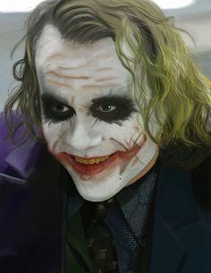 """""""Vivimos en un mundo extraño, hablando de eso, ¿sabes cómo me hice estas cicatrices?"""". """"Mi papá quería verme sonreir siempre y me marcó una sonrisa"""". #Jocker #Batman #HeathLedger"""