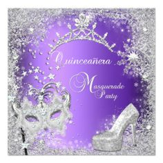 Masquerade Quinceanera 15th Purple Tiara Shoe Custom Invites In our offer link above you will seeDiscount Deals          	Masquerade Quinceanera 15th Purple Tiara Shoe Custom Invites Here a great deal...