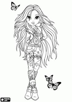 Moxie Girlz, fashion doll with butterflies flying coloring page - bjl