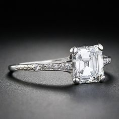 1.05 Carat Square Emerald-Cut Diamond Edwardian Engagement Ring - 10-1-4540 - Lang Antiques. Simple and elegant