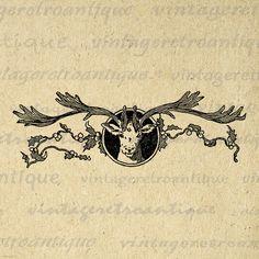 Christmas Reindeer Digital Image Download Printable Graphic Vintage Clip Art Jpg Png Eps 18x18 HQ No.2389 @ vintageretroantique.etsy.com