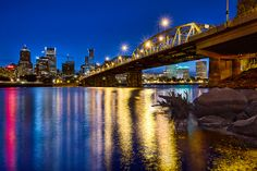 Dancing Lights on the Willamette River at Blue Hour! This is the blue hour shot of this classic Portland Oregon downtown skyline view