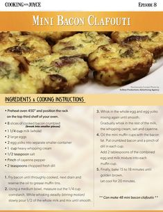 Recipes from Episode Cooking with Joyce. Whole Eggs, Cooking Instructions, Bacon, Oven, Breakfast, Recipes, Advertising, Food, Morning Coffee