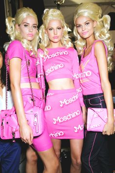 Kirstin Kragh Liljegren, Elisabeth Erm & Kate Grigorieva backstage at Moschino Spring/Summer 2015.