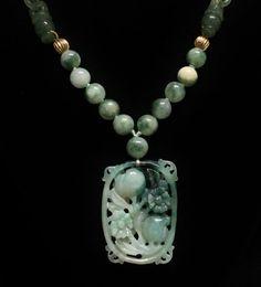 14K Jade Pendant & Necklace Peach Carving Pendant Fine by june2six