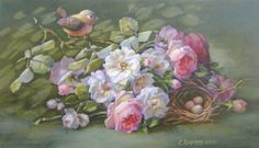 All of Christie Repasy's original canvas prints are hand-stretched onto a wooden frame. Each canvas giclee is treated with a clear coating to create the look and feel of an original painting! Her use of soft colors, lush roses and adorable animals make her paintings perfect for any Shabby Cottage style home! Christie signs and dates each print for authenticity. The prints can be framed or hung on the wall as is! A gorgeous addition to any collection.  14x24