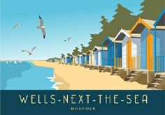 Pictures of Kent Towns and Villages. Also Dorset, Sussex, Norfolk, Suffolk and London. All images in this railway/travel poster series are displayed on this page. Posters Uk, Train Posters, Railway Posters, Beach Posters, Norfolk House, Norfolk England, Wells Next The Sea, Retro, British Seaside