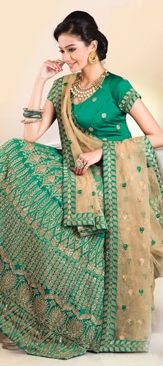 01044fd7375f93 Silk Mehendi Sangeet Lehenga in Green with Stone work