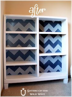 Sisters of the Wild West: Chevron Bookcase Makeover. Love the shelves not matching up! Old Bookcase, Bookshelves, Painted Furniture, Diy Furniture, Chevron Furniture, Bookcase Makeover, Home Office Decor, Home Decor, Office Ideas