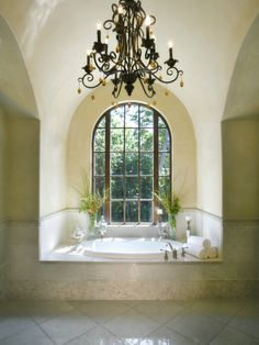 Beautiful Bathrooms Images With Vintage Hanging Lighting And Round Recessed Bathtub Design For House Beautiful Bathrooms ~ Popular Home Interior Decoration Mediterranean Bathroom, House Design, Remodel, Spanish Style Home, Bath Design, Mediterranean Homes, Mediterranean Bathroom Design Ideas, Beautiful Bathrooms, Master Bath Design