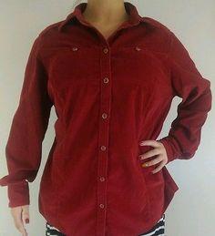 Women's Eddie Bauer Red Corduroy Jacket 100% Cotton 1X