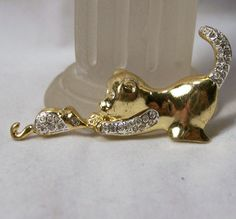 Vintage Rhinestone Cat and Mouse Pin Gold Tone by GretelsTreasures