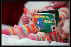 good night moon photo... I love the idea of taking pics with favorite books and toys.
