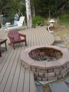 Deck Fire Pit - I love this, and it's very similar to what we've been talking about doing!