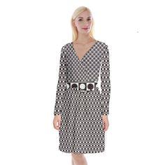 Friendly Retro Pattern H Long Sleeve Velvet Front Wrap Dress