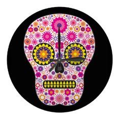 #Pink #Mexican #Sugar #Skull #Square #Wall #Clock