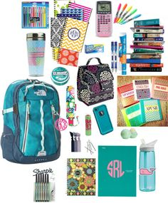 School supplies by mgm12 featuring a vera bradley lunch bag ❤ liked on PolyvoreThe North Face padded laptop bag / Tech accessory / Lilly Pulitzer umbrella / Emi Jay elastic hair tie / Acrylic key chain / Eos lip care, $17 / 4-Pocket Paper Folder (33106)   MEAD / Vera bradley lunch bag / Vera Bradley 2015 Agenda / Assorted Colors Sharpie Pen Stylo Fine 6/Pkg 1802225 / Ice Breakers Sugar Free Mints, Wintergreen, 1.5-Ounce Tins (Pack of… / Ice Breakers Ice Cubes Sugar Free Gum, ...