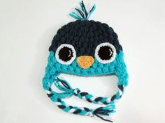 Baby Bird Beanie Earflap Hat CROCHET PATTERN by Bowtykes on Etsy, via Etsy.