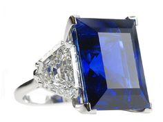 Platinum Diamond ring with Sapphire baguette 24.36ct Certified diamonds 2.19ct+2.21ct.