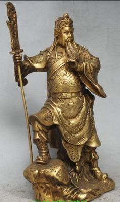 "9"" Chinese Brass FengShui Guan Gong Yu Warrior God Stand with sword Statue"