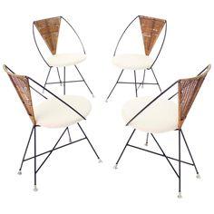 Nice Four Mid-Century Modern 'X' Base Chairs | 1stdibs.com