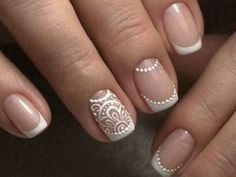 френч на коротких ногтях (88) Love Nails, Fun Nails, Pretty Nails, Henna Nails, Mandala Nails, Cute Nail Art Designs, Modern Nails, Wedding Nails Design, Bright Nails
