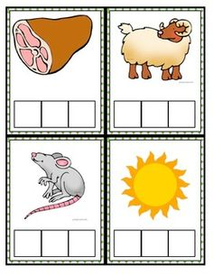 CVC words with pictures for the kids to stamp the correct letters they hear. Great for a stamping center.  Not sure where the graphics are from.
