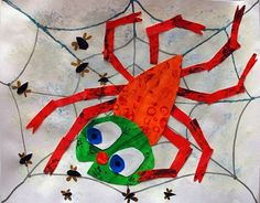 Eric Carle Spider- paint watercolor paper one color and another color and cut head and body out of painted paper and collage onto a spider web. Theme Halloween, Halloween Crafts, Eric Carle, Kindergarten Art, Art Lessons Elementary, Autumn Art, Art Lesson Plans, Teaching Art, Book Crafts