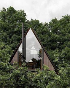 A Frame Cabin, A Frame House, Tiny House Cabin, Cabin Homes, Cabin Design, Tiny House Design, Cabins In The Woods, House In The Woods, Future House