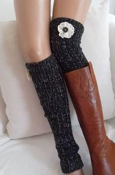 Black and Silver Leg Warmers Boot Socks Machine Knit Boot Cuffs Women's Socks Winter Socks Christmas Gift Knitted Boot Cuffs, Knitted Slippers, Knitting Socks, Sock Shoes, Shoe Boots, Socks And Heels, High Socks, Winter Socks, Boot Socks