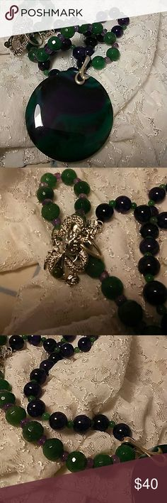 """Natural Stone Agate Pendant Necklace Set Purple and green agate 2"""" disk. 22"""" AMETHYST snd jade beaded chain. Faceted and round beads 3mm to 8mm. Dragon clasp. Coordinating Earrings HANDCRAFTED Jewelry Necklaces"""