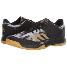 adidas Ligra 5 (Core Black/Gold Metallic/Footwear White) Men's... (80 CAD) ❤ liked on Polyvore featuring men's fashion, men's shoes, men's sneakers, mens sneakers, mens lace up shoes, mens metallic gold sneakers, mens shoes and mens black lace up shoes