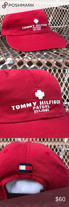 VINTAGE RARE 90's TOMMY HILFIGER PATROL FLAG CAP Details: Great new condition! Absolutely no defects.  Cap has been unworn & shows no signs of usage. Red cap. Tommy Hilfiger patrol logo embroidered on front. Tommy Hilfiger flag patch on back of hat above strap.  *Ships from US.  *Same or next day shipping.  *First-Class US shipping (delivery in 1 to 3 business days).  *First-Class International shipping (delivery in 7 to 21 business days).  *Tracking # supplied after payment.  FEEL FREE TO…