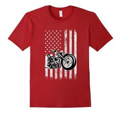Motorcycle T-Shirt- Bikers American Flag T-shirt