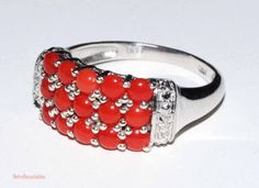 Rare untreated Mediterranean coral ring in sterling silver with platinum overlay size 8 shipping included to U.S.A & Canada