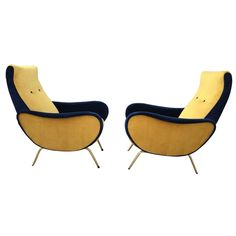 Pair of Italian, 1950s Armchairs in the Style of Marco Zanuso | 1stdibs.com