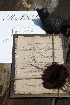 Burlap printed wedding invitations