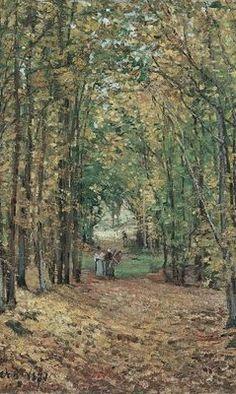 """Camille Pissarro (1830-1903) ~ """"Forêt de Marly"""", 1871 (Détail) ~ Huile sur Toile Originale 45 x 55 cm ~ Museo Thyssen Bornemisza, Madrid, Espagne"""