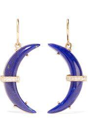 Crescent Moon 18-karat gold, lapis lazuli and diamond earrings
