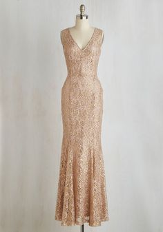 Glamour and Grace Dress - Lace, Gold, Solid, Sequins, Special Occasion, Wedding, Bride, Homecoming, A-line, Maxi, Sleeveless, Woven, Better