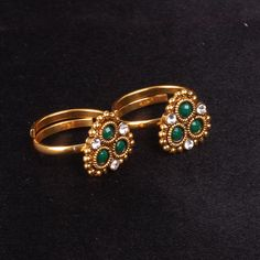 Toe Ring flower design with green and white stones - WJ0051 Bridal Jewellery Toe Rings