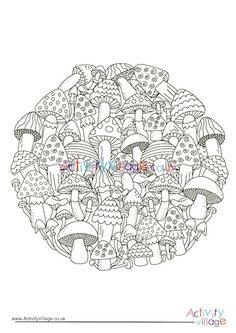 I wouldn't like to try and count all the mushrooms on this circle colouring page, but it looks like a lot of fun to colour them in! Perfect as an autumn colouring activity. Colouring, Adult Coloring, Coloring Pages, Autumn Activities For Kids, Color Activities, Mushroom Circle, Autumn Crafts, Cool Kids, Free Printables