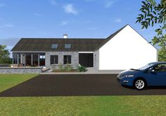 This design has a traditional Irish cottage front with traditional form and vernacular. The rear of the property is where the licence to introduce architectural flair was given, this is evident in … Modern Bungalow House Plans, Modern Bungalow Exterior, Bungalow House Design, Dream House Plans, Cottage Design, Bungalow Designs, Bungalow Decor, Bungalow Ideas, Rural House