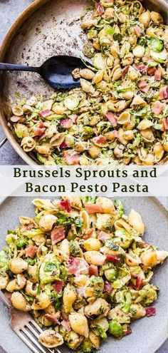 Brussels Sprouts and Bacon Pesto Pasta is a simple, but hearty weeknight meal. Shredded brussels sprouts, crisp bacon and pasta are tossed together in pesto, parmesan cheese and fresh lemon juice. An effortless dinner that only takes 30 minutes to I Love Food, Good Food, Yummy Food, Pesto Pasta Recipes, Pesto Recipe, Bacon Pasta, Chicken Recipes, Pesto Pasta Salad, Healthy Chicken