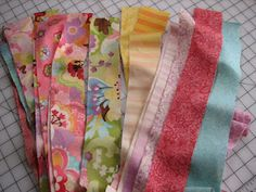 Jelly roll project.  Scroll down to the bottom of page for a cool qaug on minky fabric