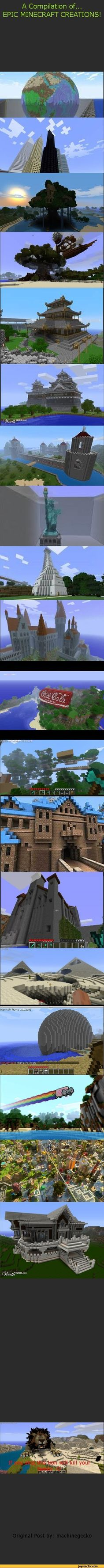 A Compilation of...EPIC MINECRAFT CREATIONS!Original Post by: machinegecko / funny pictures / funny pictures best jokes: comics, images, video, humor, gif animation - i lold - make cool stuff like this in minecraft
