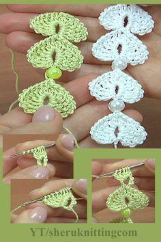 To create hearts, we used: cotton yarn, 169 meters in 50 grams, hook mm or mm, Beads: cm. Crochet Leaf Patterns, Crochet Jewelry Patterns, Crochet Art, Crochet Gifts, Crochet Accessories, Crochet Motif, Crochet Designs, Crochet Flower Tutorial, Crochet Flowers