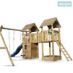 Spielturm Wickey Clubhouse,  Doppel-Spielturm mit Spielhaus, Schaukel und Sandkasten