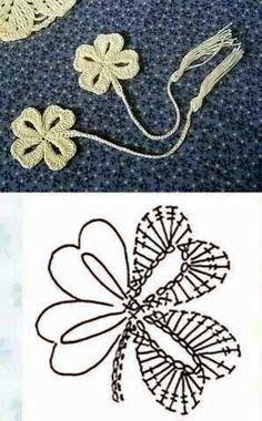 crochet clover leaf diagram The Effective Pictures We Offer You About tricot et crochet A quality pi Marque-pages Au Crochet, Appliques Au Crochet, Crochet Flower Patterns, Crochet Diagram, Crochet Books, Freeform Crochet, Thread Crochet, Love Crochet, Crochet Doilies